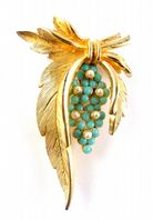 Vintage Large Draped Leaf Brooch And Turquoise Flower Brooch By Sphinx.